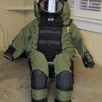 A newly purchased bomb suit was displayed.