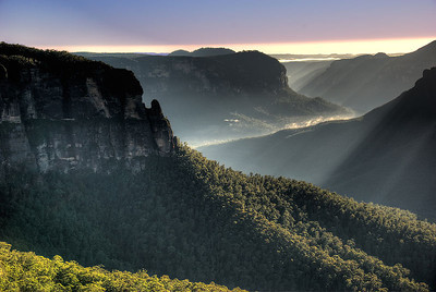 Early morning light over the Grose Valley in late summer as seen from the Govetts Leap Lookout -  Blackheath, Blue Mountains, New South Wales, Australia