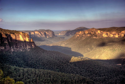 The Grose Valley as seen from Blackheath's Govett's Leap Lookout by late afternoon light - Blue Mountains, New South Wales, Australia
