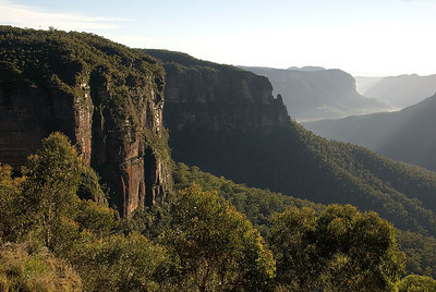 Early morning light over the Grose Valley in late summer as seen from the Govetts Leap Lookout near Blackheath, Blue Mountains, New South Wales, Australia