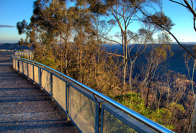 Looking out over the western end of the Echo Point Lookout, near Katoomba in the Blue Mountains of New South Wales, Australia by late afternoon autumn light.