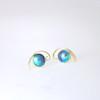 Blue Pearl Earring with Koru Swirl in Gold
