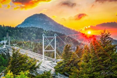 Grandfather Mountain Footbridge at Sunrise