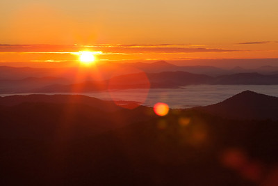 Sunrise on the Blue Ridge Parkway from the Looking Glass Overlook in North Carolina.