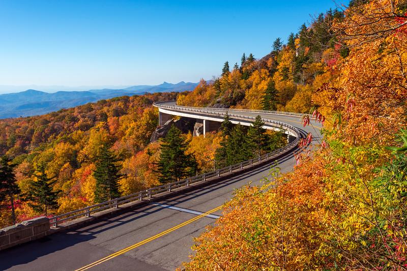 Beautiful Fall Day over Linn Cove Viaduct