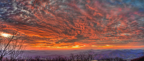 Panorama Sunrise over Rockfish Valley and Horseshoe Mountain Range