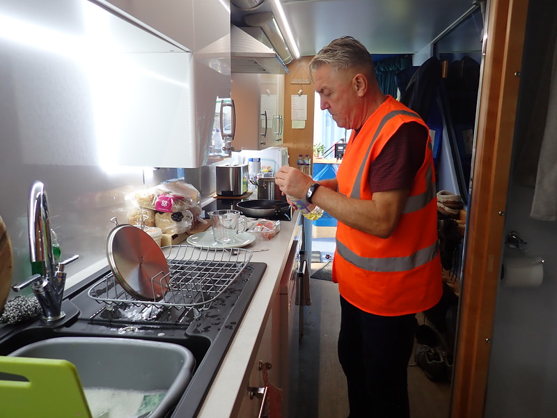 Driver, Tommy Watson making dinner!