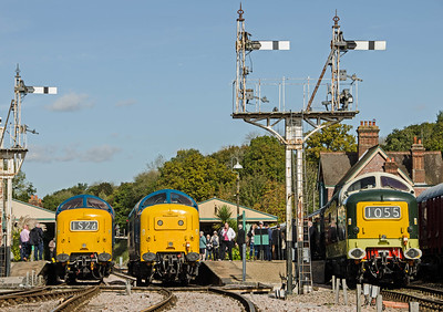D9009 'Alycidon', 55019 'Royal Highland Fusilier' and D9002 'The King's Own Yorkshire Light Infantry' at Horsted Keynes