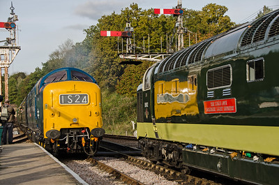 55019 'Royal HighlandFusilier' and D9002 'The King's Own Yorkshire Light Infantry' at Horsted Keynes