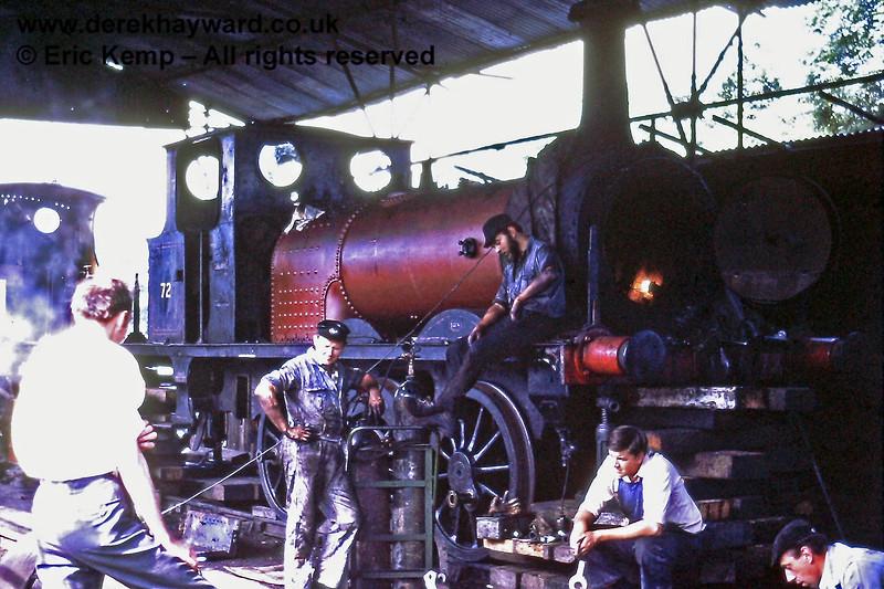 72 Fenchurch under repair at Sheffield Park. 17.07.1971