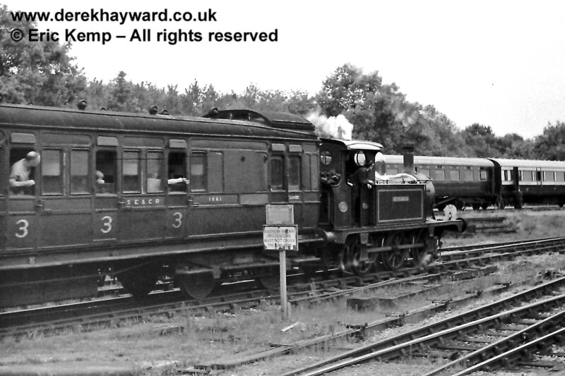 Bluebell and SECR coach 1061 leaving Horsted Keynes.  31.05.1970