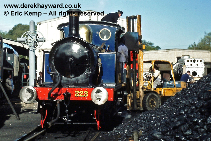 323 Bluebell being coaled up at Sheffield Park. 21.10.1984