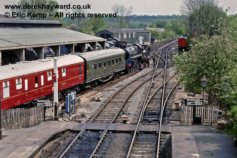Sheffield Park station, looking south in 1989.  At the time the side of the running shed was still open.