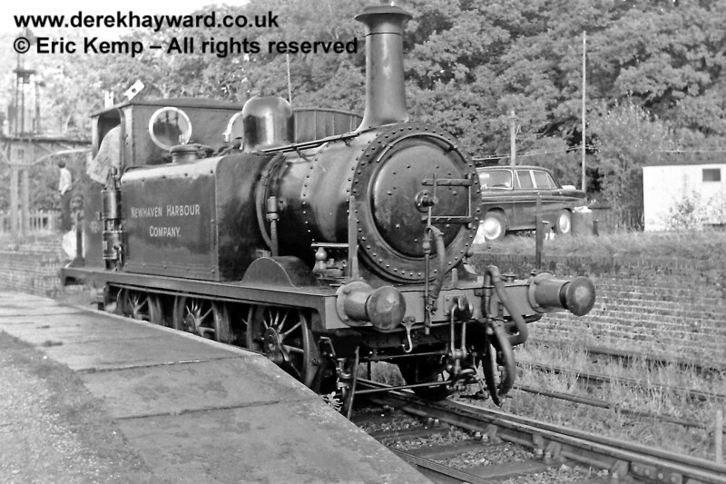 The Newhaven Harbour Company named side of No 72 at Horsted Keynes. (At the time the engine had different identities on each side).  29.09.1968  Behind the locomotive the signal is up (off) for a shunt towards the Down yard.