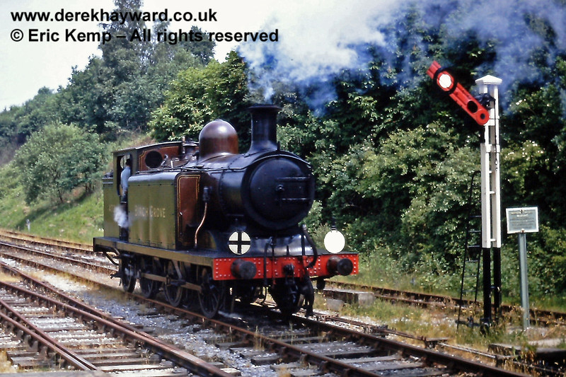 Birch Grove at Horsted Keynes. 14.06.1970  The ringed arm on the signal denotes entry to a siding or headshunt.