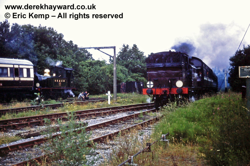 Birch Grove enters Horsted Keynes whilst No 27 shunts coaching stock. 05.07.1970