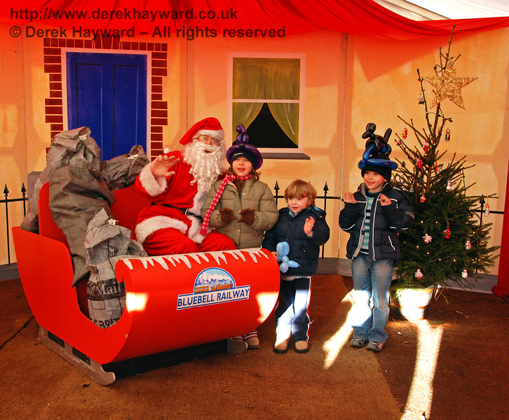 Happy childen in Santa's Grotto at Kingscote. 07.12.2008