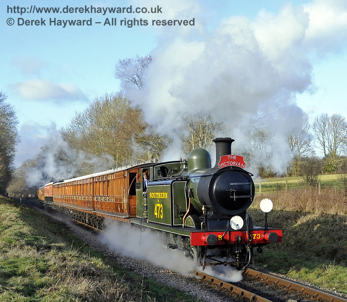 B473 steams south from Ketches Halt with the Victorian Christmas train. 22.12.2011  3355