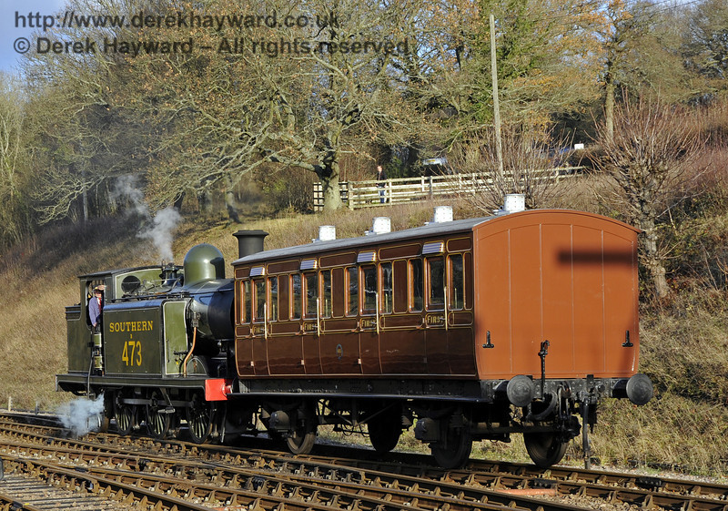 B473 makes up the Victorian Christmas train at Horsted Keynes.  22.12 2011  3386