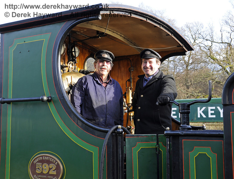 The smiling crew of 592 at Horsted Keynes.  This was before their engine failed....  20.12.2013  9900
