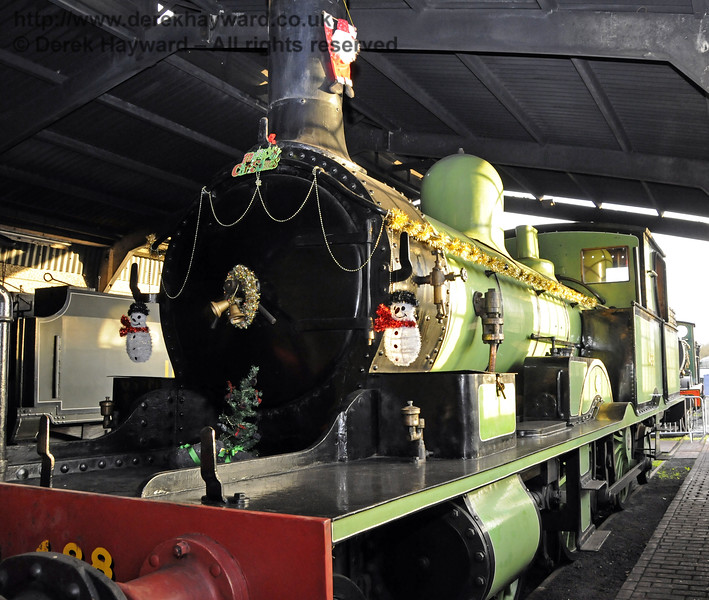 488, complete with Christmas decorations.   Sheffield Park shed 13.12.2014  11717