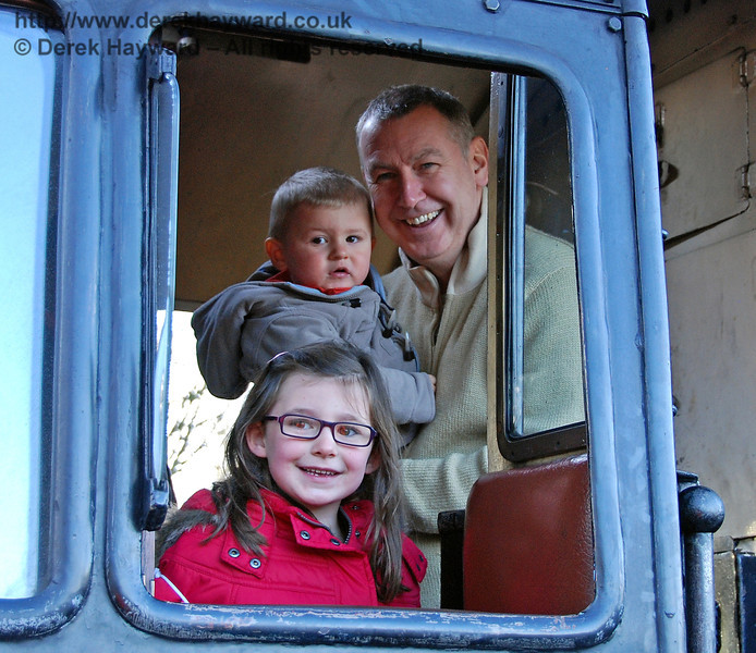 Happy visitors on the footplate of 80151. Kingscote 06.12.2009