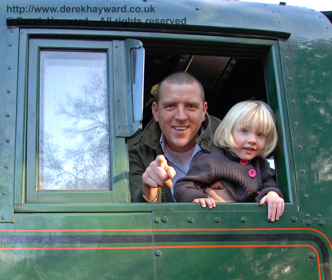 Visiting the footplate of 34059, Sir Archibald Sinclair. Kingscote 06.12.2009