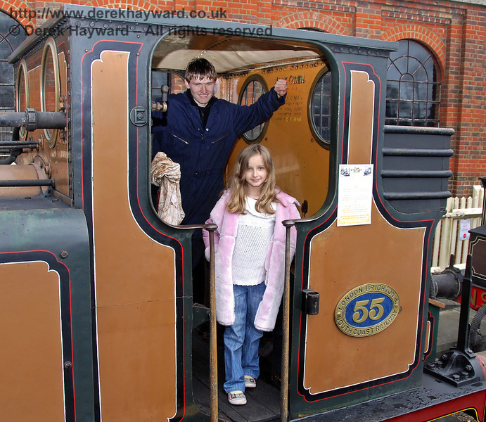 A young lady visiting the footplate of Stepney. Sheffield Park 05.12.2009