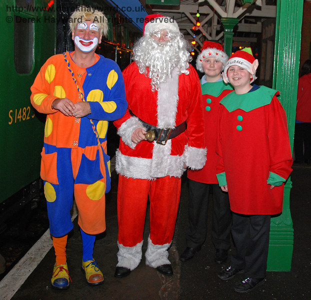 Santa with Brillo the clown and some elves at Kingscote. 05.12.2009