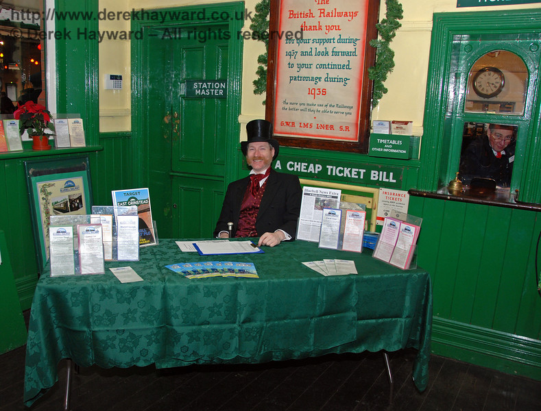A distinguished gentleman waited to greet visitors at Horsted Keynes, whilst the staff in the ticket office watched events! 20.12.2008