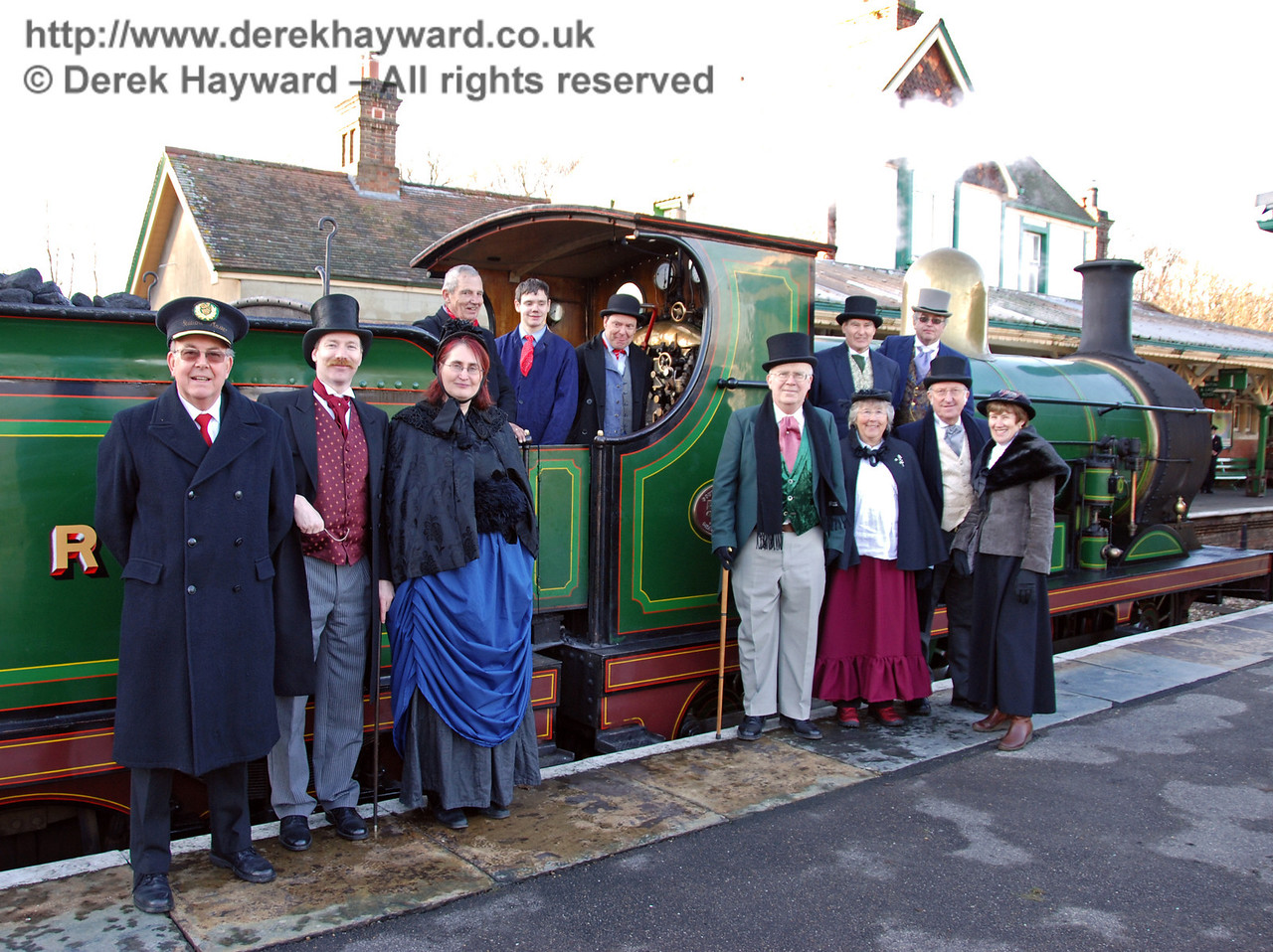 The Victorian team at Kingscote plus a rather more modern Station Master who happened to be nearby... (It's a time warp caught on camera). 02.01.2010