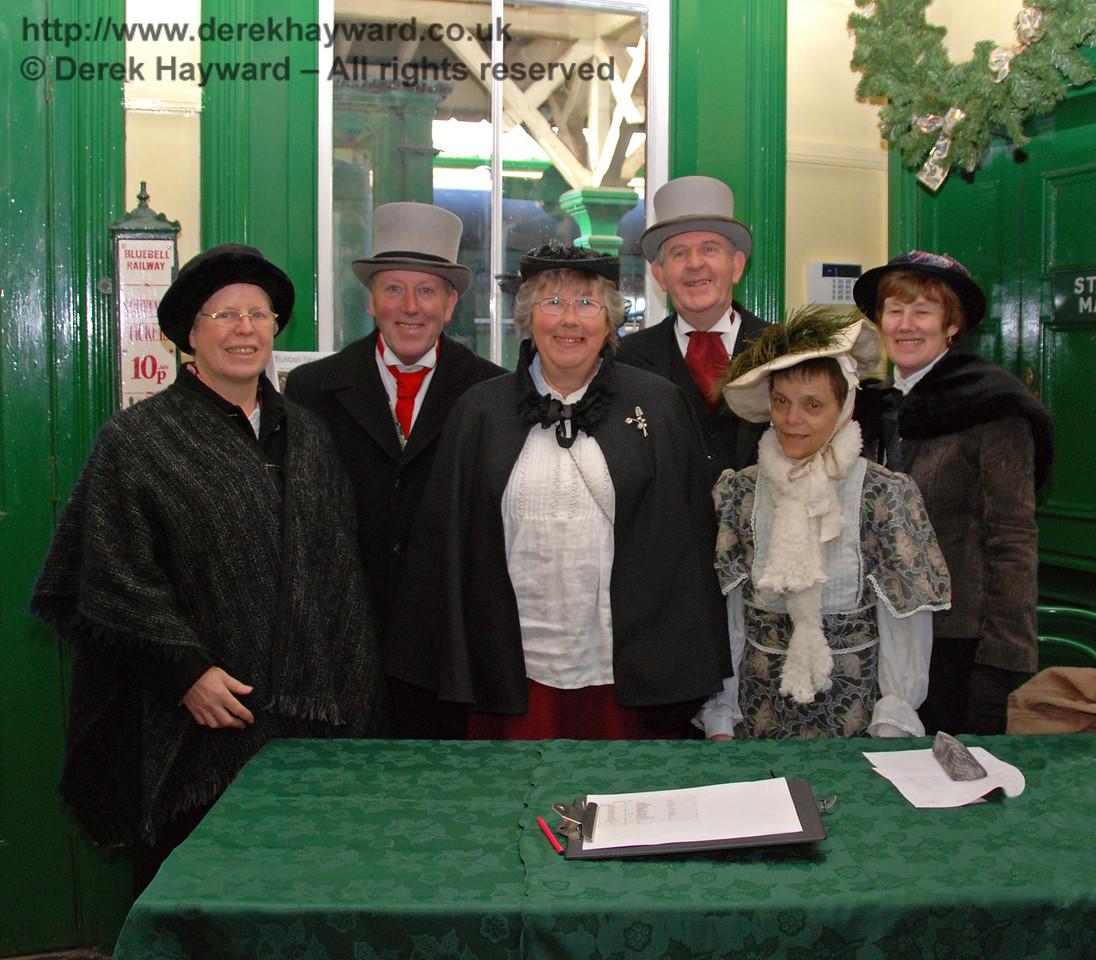 The Victorian team in the booking office at Horsted Keynes. 02.01.2010