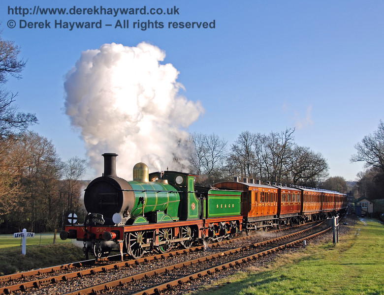 592 arrives at Kingscote with the Victorian train.   02.01.2010