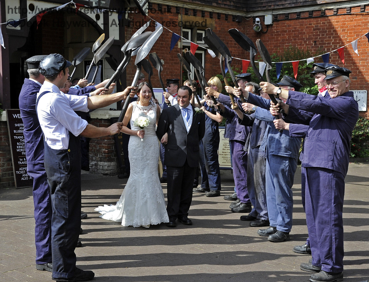 Members of the Loco Department form an Honour Guard outside Sheffield Park Station for the wedding of Simon Blaker & Becky Dallimore.  15.09.2012  5677