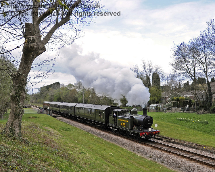 B473 passes West Hoathly foot crossing with a southbound service train.  15.04.2012  4421