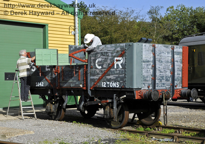 Repairing wagon 5542 outside the Carriage and Wagon Works at Horsted Keynes.  15.09.2012  5758