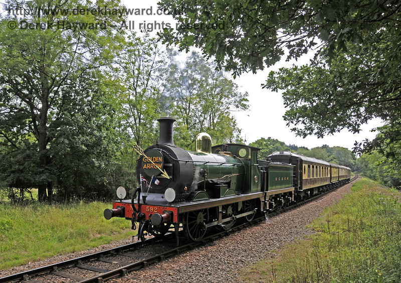 592 steams north towards West Hoathly tunnel.01.09.2013  9704