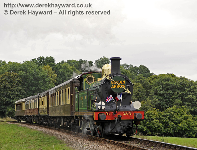 263 approaches Horsted Keynes with the Golden Arrow.  22.09.2013  8115