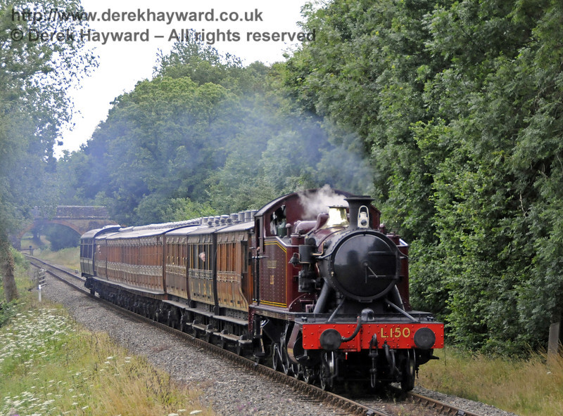 Visiting engine L150 approaches Kingscote.  31.07.2013  9585