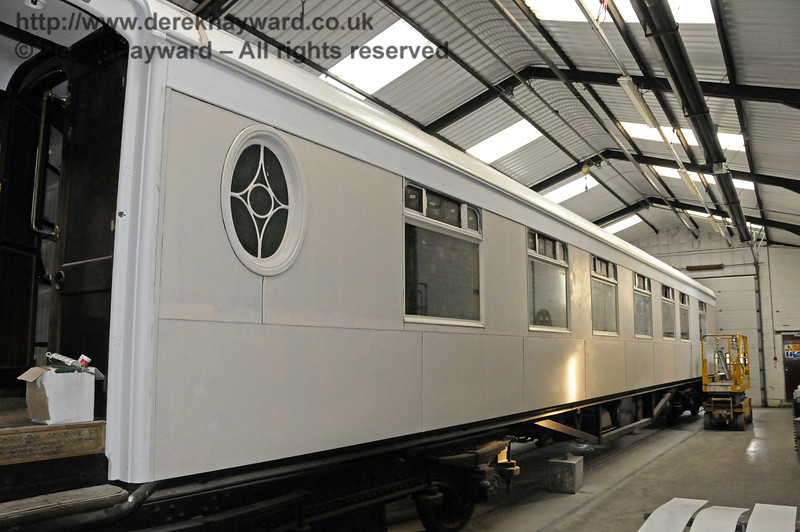 Pullman Car Fingall in the paint shop, awaiting Pullman livery.  06.10.2013  9784