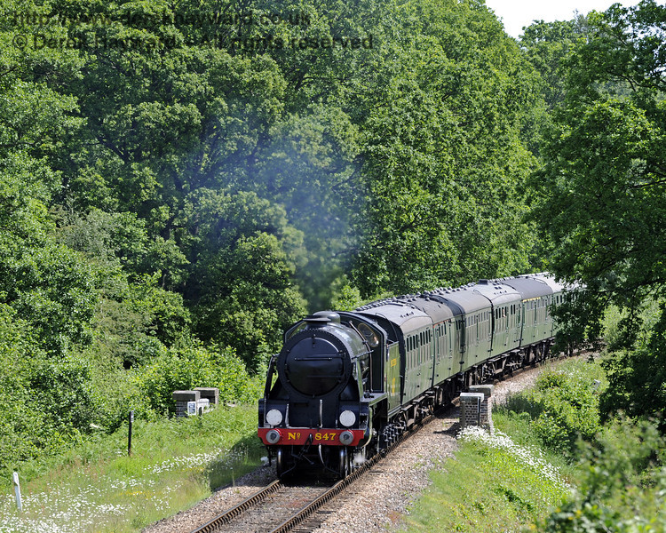 847 passes over Waterworks Bridge with a service train.  08.06.2014  9536