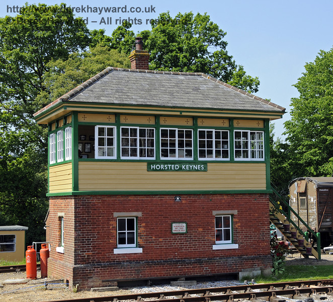 Horsted Keynes signal box, newly repainted.  18.05.2014  10546