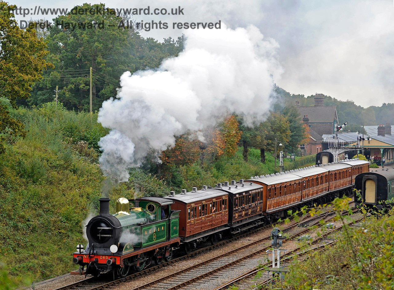 263 steams north from Horsted Keynes with a service train.  10.10.2015  12168