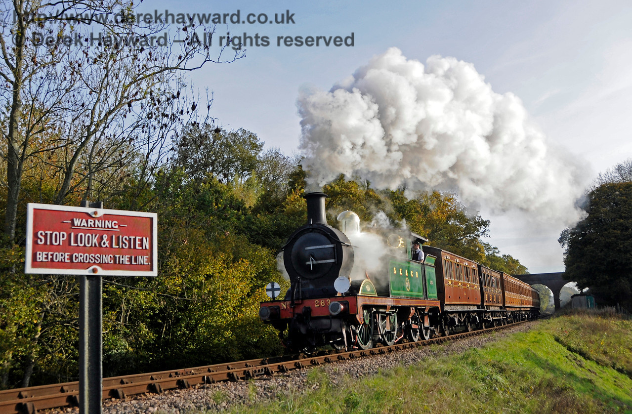 263 steams north from Three Arch Bridge.  25.10.2015  13907
