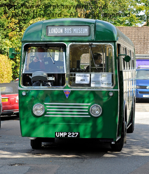 """A unique vehicle pictured outside the old coal office at the former Forest Row Station.  A 1949 AEC Regal IV prototype bus, UMP 227, from which came the huge """"RF"""" fleet.  04.10.2015   12001"""