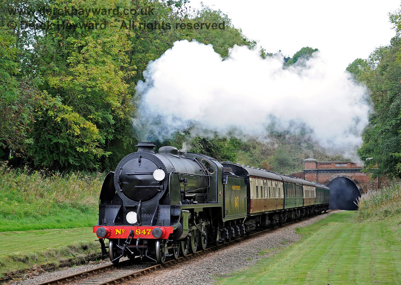 847 steams through the site of West Hoathly station.  10.10.2015  12183