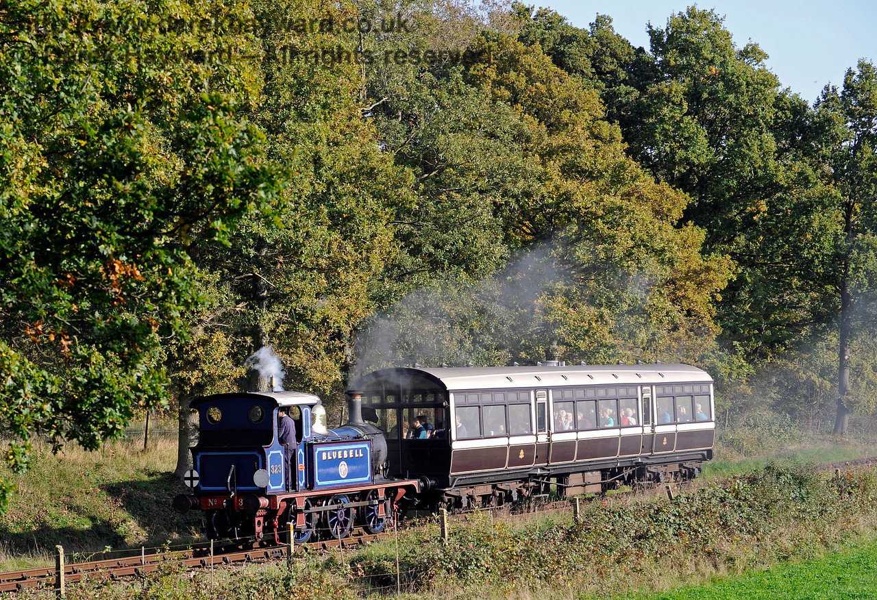 323 Bluebell hauls the Observation Car north from Sloop Bridge.  20.10.2015  12265