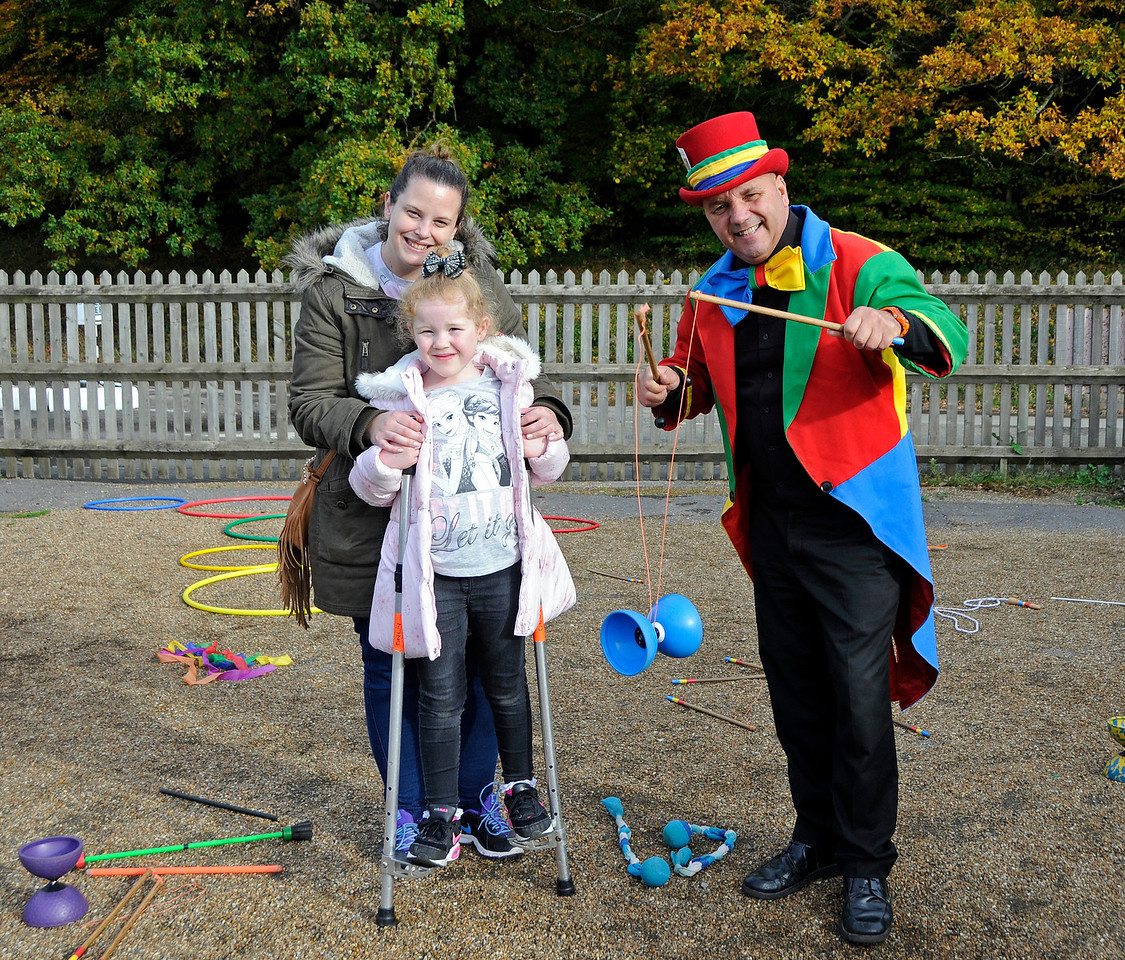 There are children's activities at Horsted Keynes every day of the Half Term.  Circus skills today were provided by Hazee's Crazee Circus.  Hazee is back on Wednesday.  25.10.2015  13890