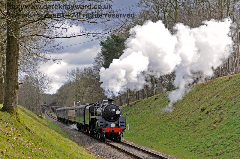 73082 makes steam in Mill Place cutting.  28.02.2016  12671