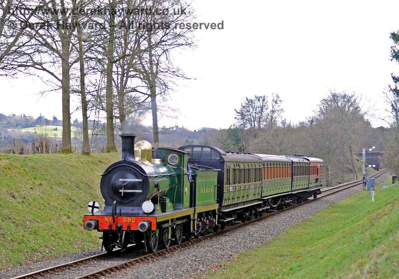 592 steams north from the Kingscote Up Home signals.  28.02.2016  12652